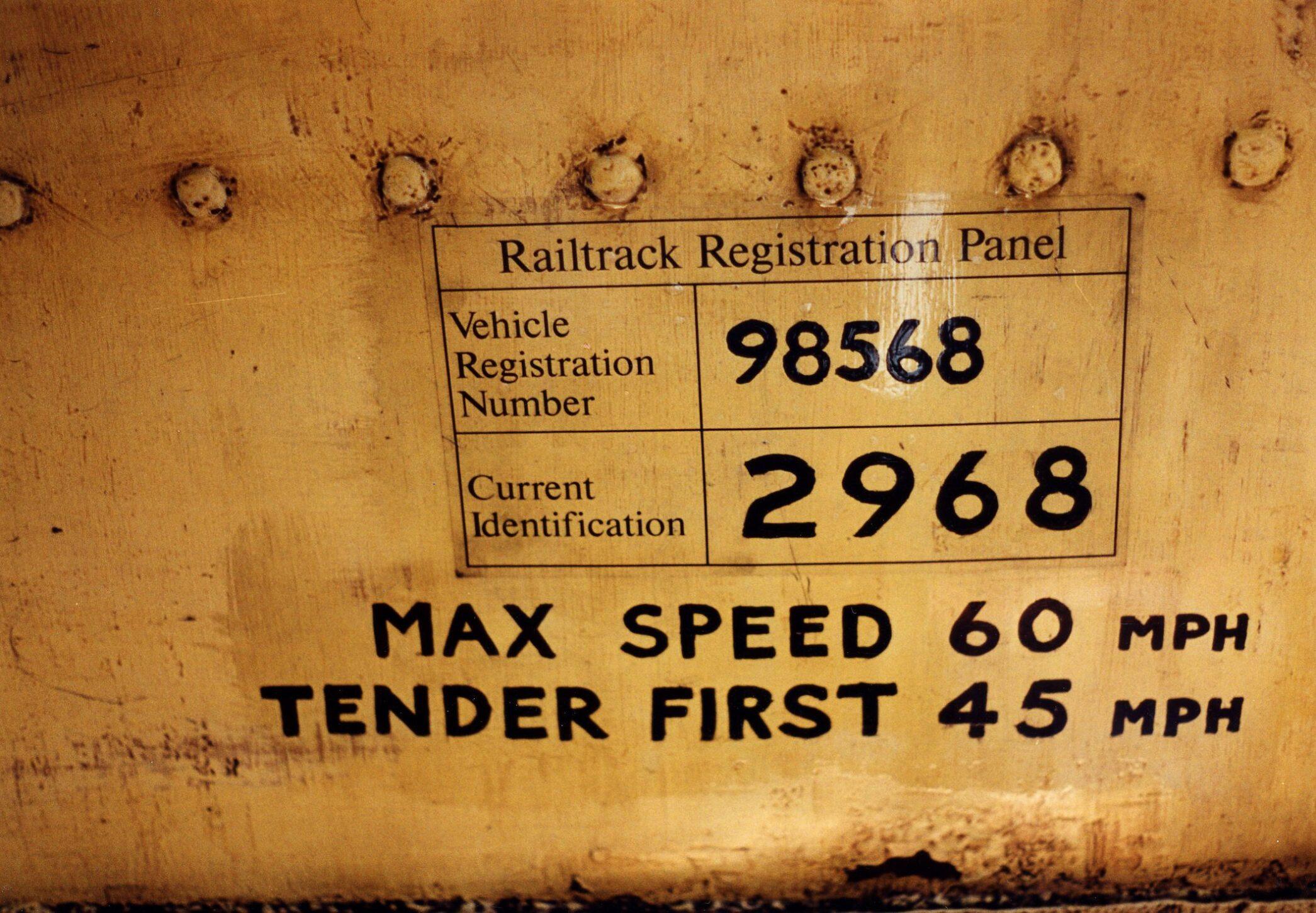Railtrack Registration Panel in cab of 2968. Bridgnorth mpd 07-09-06 Photo R Greaves